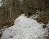 Only a few hundred feet after the snow started on the trail, there was a long section of solid ice the covered the entire trail.  This is an early section of it