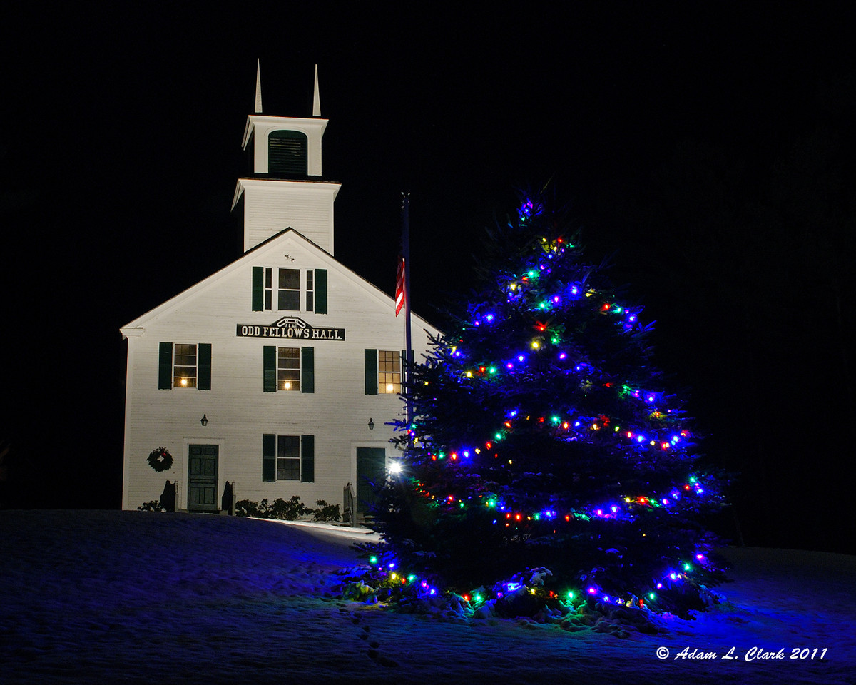 12.13.2011<br /> <br /> The Odd Fellows Hall in Marlow, NH with their Christmas tree decorated